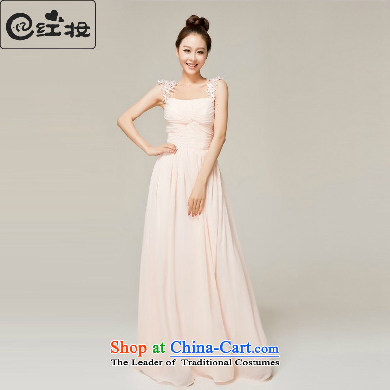 Recalling that the red spring and summer, maternal and child marriages wedding dresses shoulders bridesmaid long evening dresses L12135 pink dresses,?XL