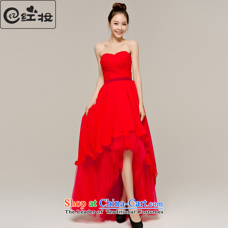 Recalling that hates makeup and the spring and summer months ago after short long bows evening dress bride wedding dresses alignment with chest moderator banquet service L12103 RED?M