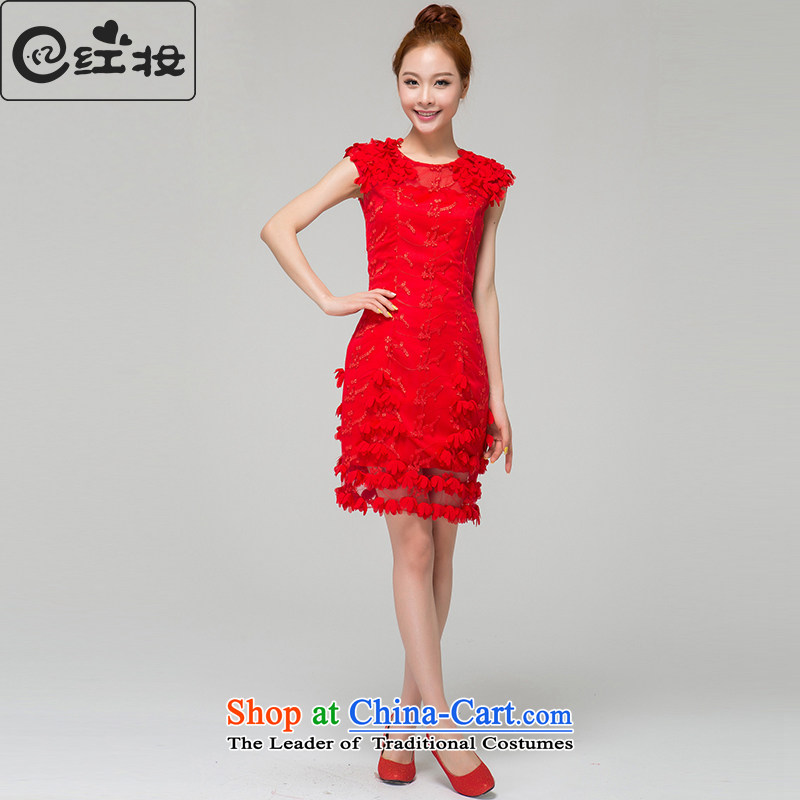 Recalling that hates makeup and summer red marriages wedding dresses Korean New bows services shortage of Qipao bridesmaid evening dress L13784 RED?XL