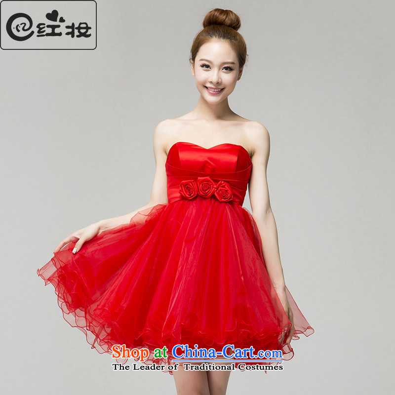 Recalling that hates makeup and the spring and summer bridesmaid dress red short, marriages and chest bon bon skirt bows dinner dress skirt L13791 small red?M