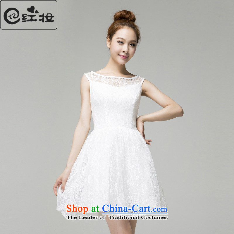 Recalling that hates makeup and Mr Ronald, marriages Short Word 2015 dresses, wipe the chest small dresses shoulder stylish dinner drink service L13798 White?M