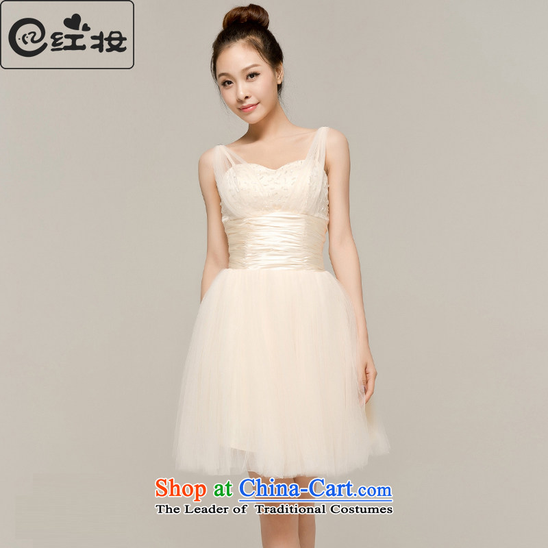 Recalling that hates makeup and the spring and summer months new wedding dresses bridesmaid dress short skirts, small strap new Korean brides dinner serving L13040 bows light yellow?S