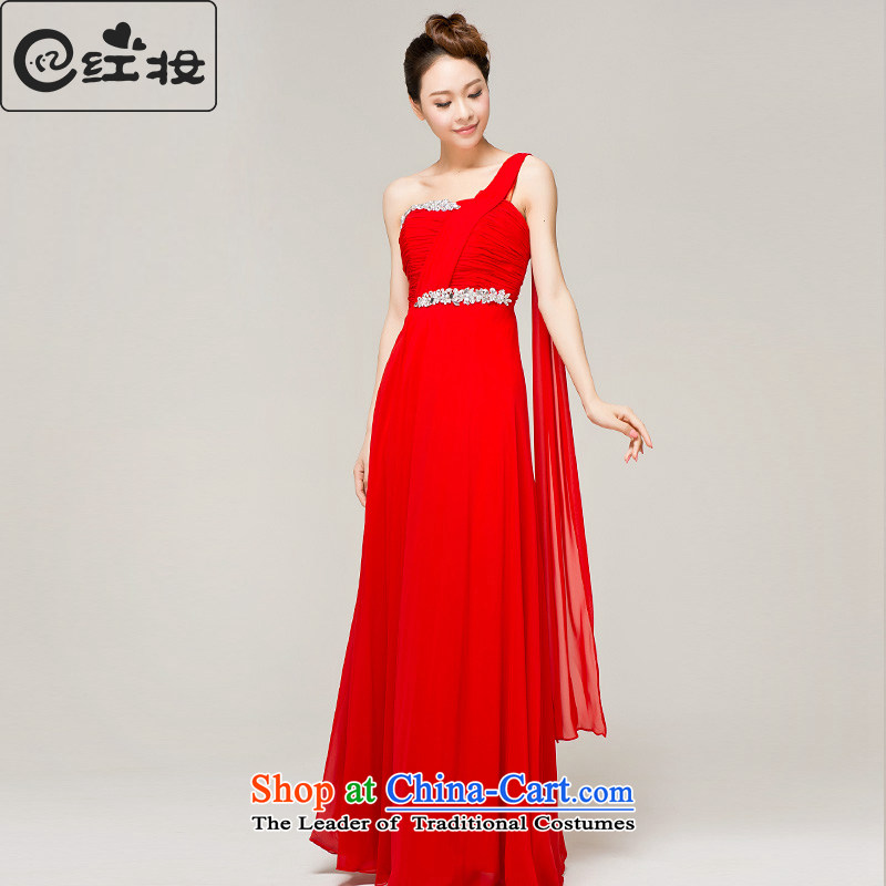 Recalling that the red Colombia Summer wedding dresses new marriages Red Dress 2015 single shoulder length) bows to dress L13022 B?M