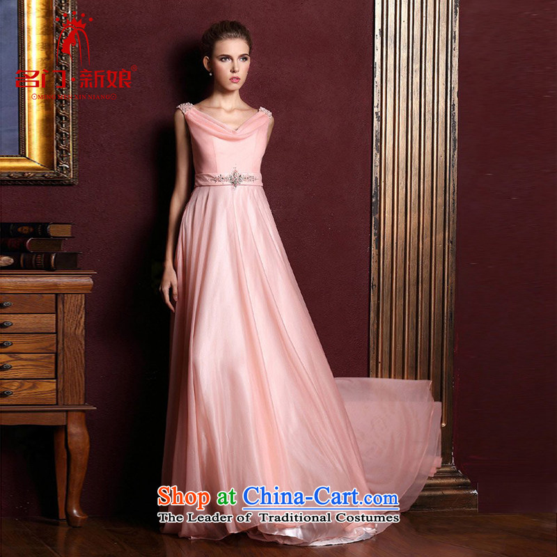 A Bride dress marriage new drink service long bridesmaid dress Red Dress?326?pink?L