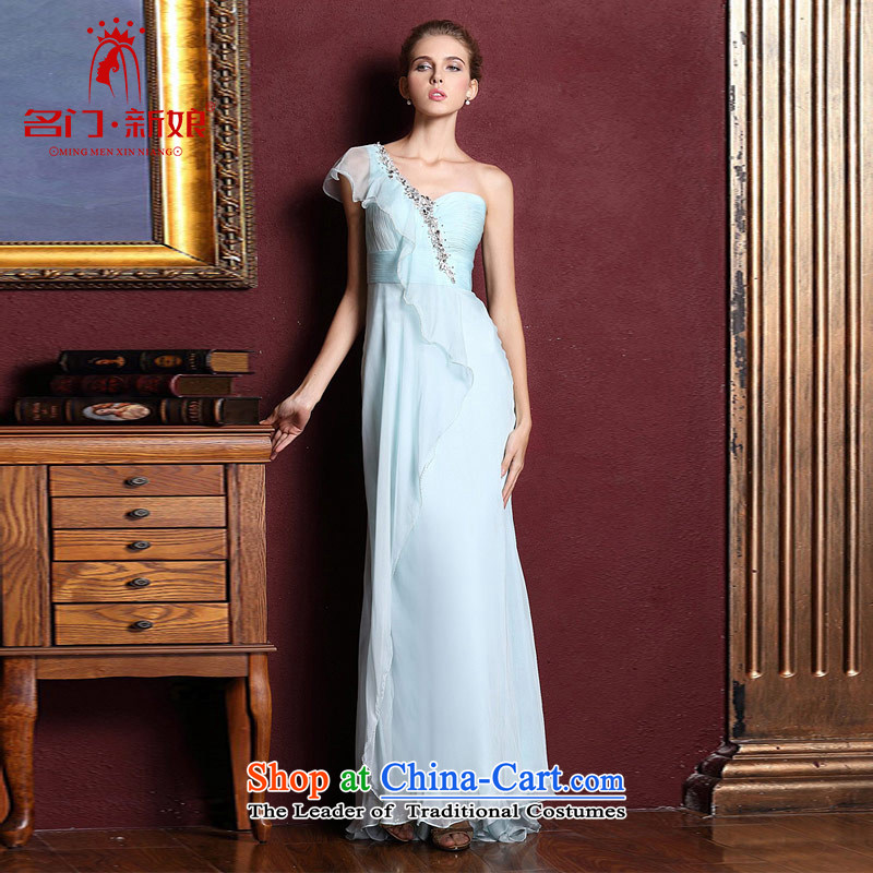 A bride wedding dresses long marriage bows evening dresses 2015 new blue shoulder dress 327 L