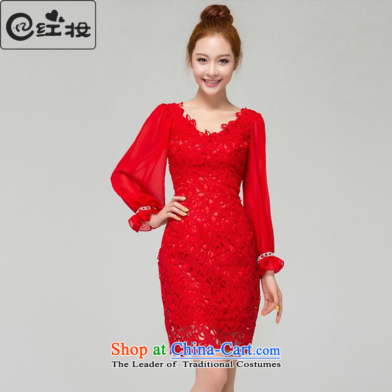 Recalling that hates makeup and spring and summer bride wedding dress new stylish Sau San V-Neck red lace bridesmaid short, long-sleeved clothing L13771 bows red?L