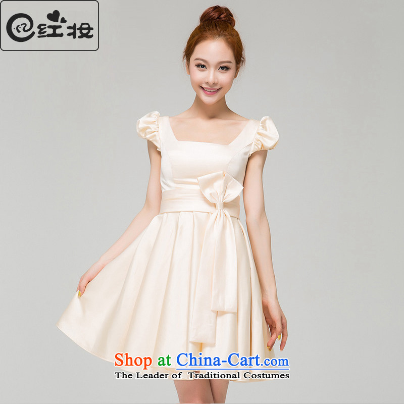 Recalling that hates makeup and spring and summer bridesmaid Dress Short of small bride champagne color bows shoulders evening dresses and sisters skirt summer spring L13787 champagne color?M