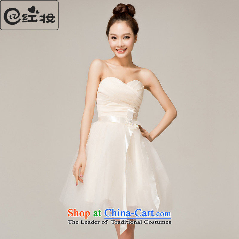 Recalling that hates makeup and spring and summer bridesmaid Dress Short, Mary Magdalene and chest straps chest princess bon bon skirt the new Marriage bows dinner dress L12119 champagne color S