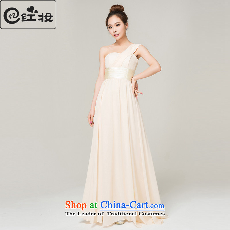 Recalling that hates makeup and summer 2015 new bridesmaid dress long moderator Ms. dress shoulder Sau San champagne color bows L13753 serving champagne color?M