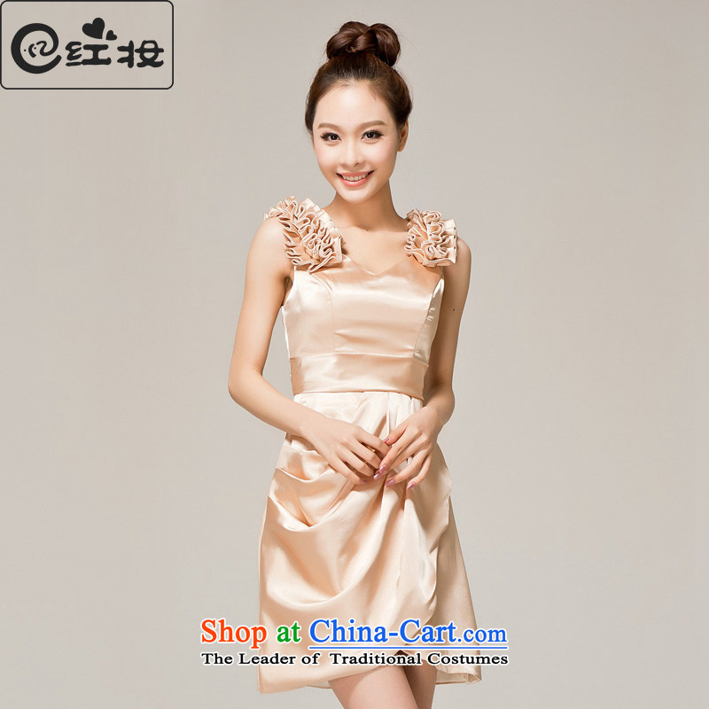 Recalling that hates makeup and spring and summer bridesmaid services shoulders 2015 Small Dress Short, bows to the princess bridesmaid service temperament skirt L12122 champagne color S