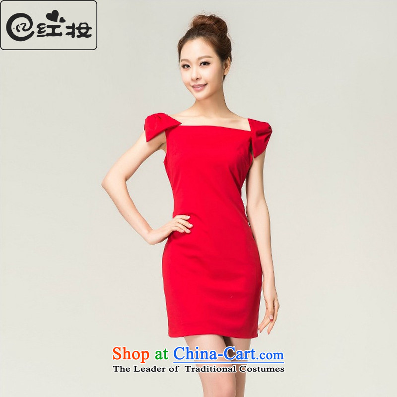 Recalling that hates makeup and spring and summer bridesmaid Red slotted shoulder Dress Short_ 2015 sexy beauty bride bows package shoulder small dress L13739 RED?XL