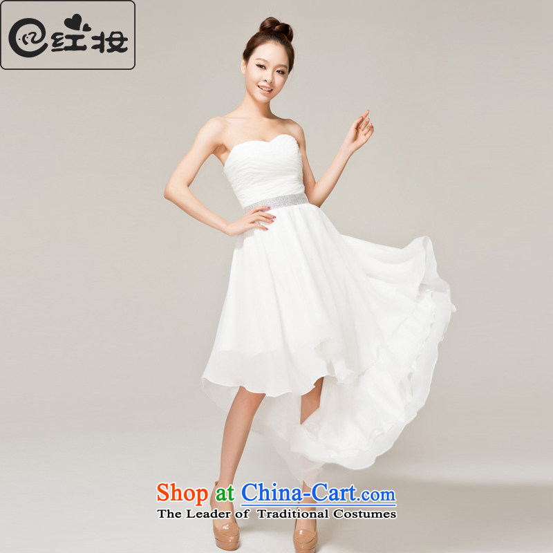 Recalling that hates makeup and spring and summer wedding dresses marriages front stub long after bridesmaid small dress skirt white dress with chest L12138 White?M