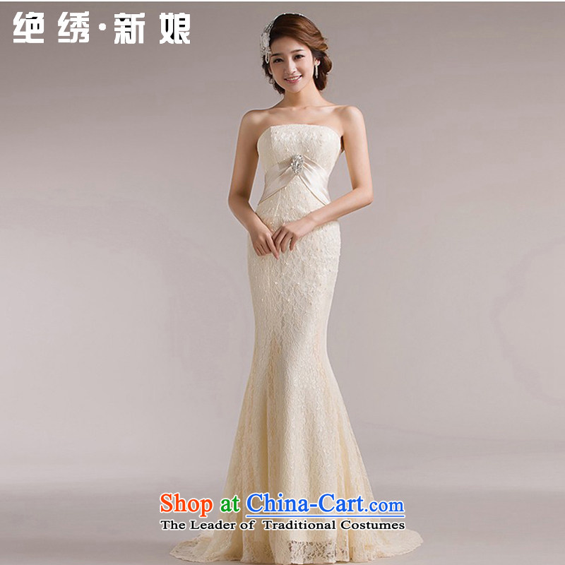 No new 2015 bride embroidery lace Korean three-dimensional crowsfoot tail behind the strap theme wedding champagne color XL Suzhou Shipment