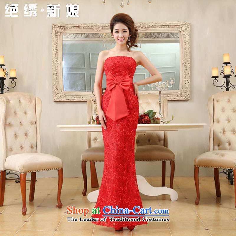 Embroidered is new spring 2015 bride marriages wedding lace flowers bows services and chest red dress red 608 XL Suzhou Shipment