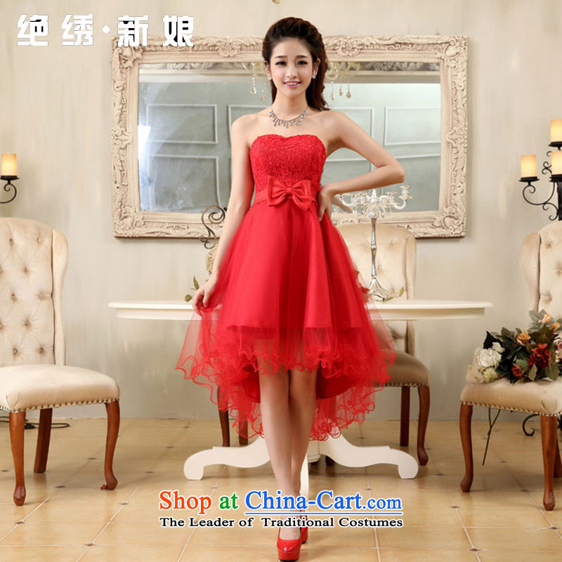 No new bride embroidery lace short marriage by 2015, before long after short red dress bridesmaid bows RED?M?Suzhou Shipment