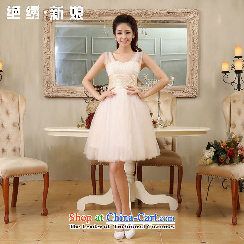 Embroidered is by no means a bride wedding dresses 2015 new short lifting strap, bridal dresses bows service bridesmaid champagne color XXL Suzhou Shipment