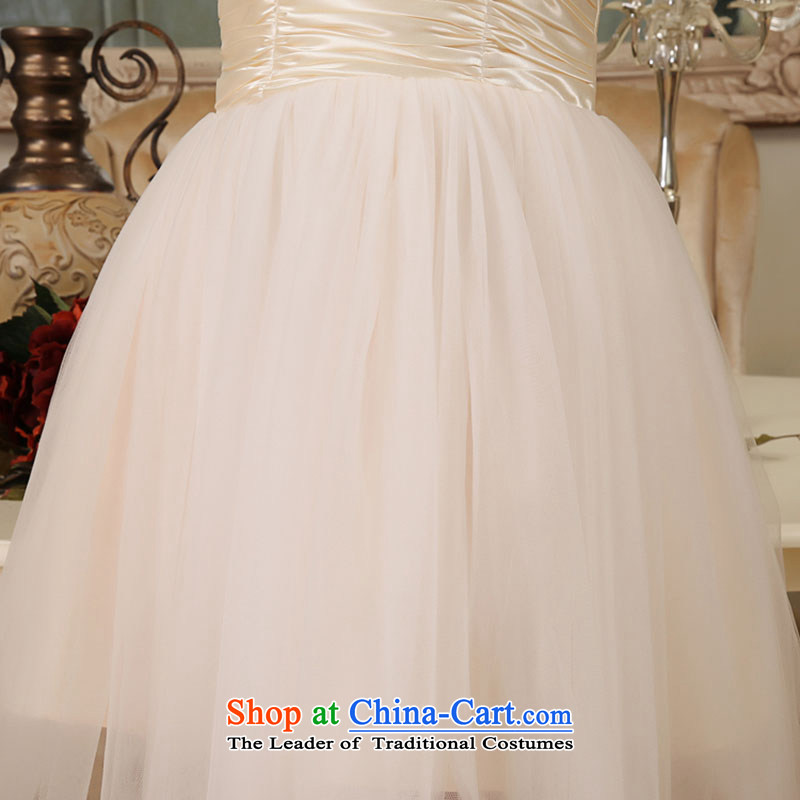 Embroidered is by no means a bride wedding dresses 2015 new short lifting strap, bridal dresses bows service bridesmaid champagne color XXL , Suzhou embroidery brides shipment has been pressed shopping on the Internet