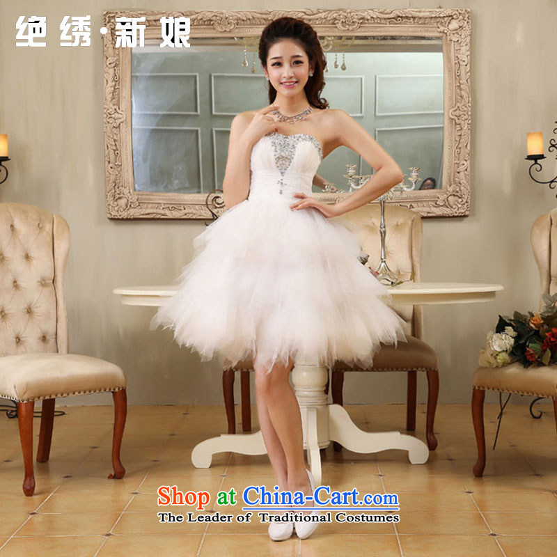 Embroidered is by no means a bride wedding dresses new bride wedding dress and diamond short of chest bridesmaid small white dress with?M?Suzhou Shipment