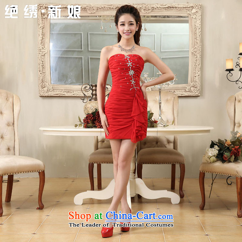 No?new 2015 bride embroidered wedding dress short skirt, Sau San marriage bridesmaid night shops to show red?XXL?Suzhou Shipment