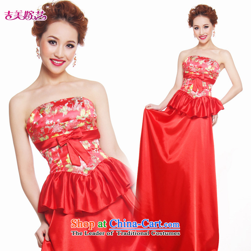 Beijing No. year wedding dresses Kyrgyz-american married new Korean arts 2015 edition to align LS345 Sau San bridal dresses red?S