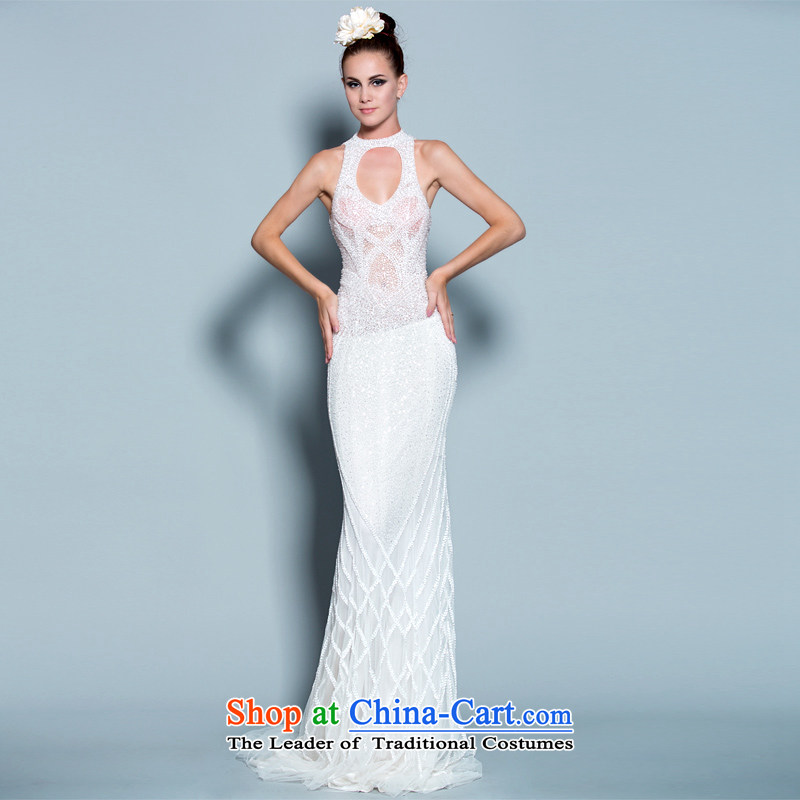 A lifetime of 2015 New Full luxurious wedding weight drill set manually pearl dress original design exclusive designer custom 30250816?175/96A white thirtieth day pre-sale