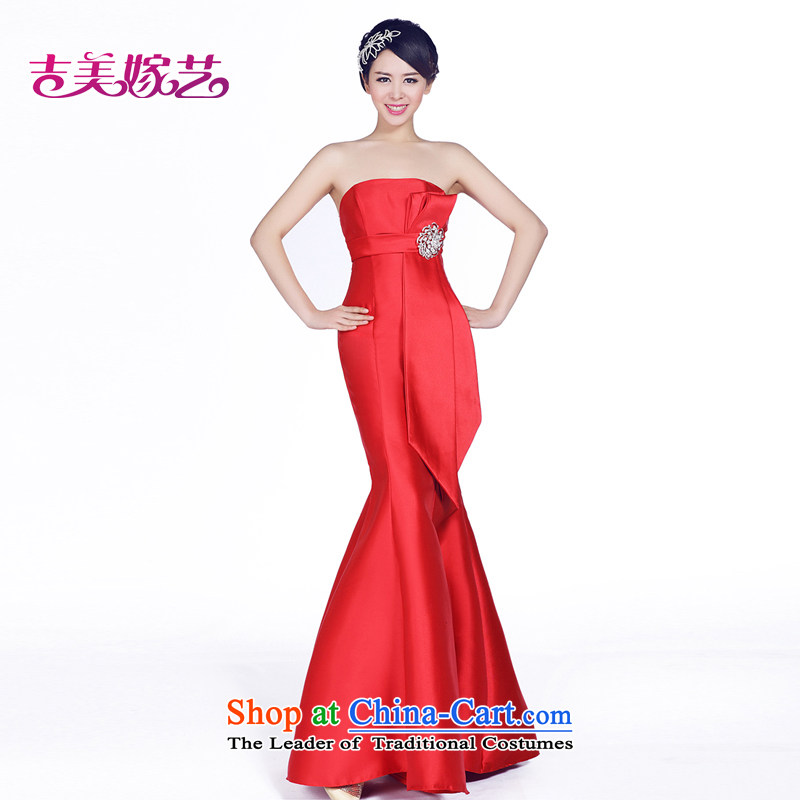 Beijing No. year wedding dresses Kyrgyz-american married new anointed arts 2015 chest bride dress crowsfoot LS237 bride dress red?L