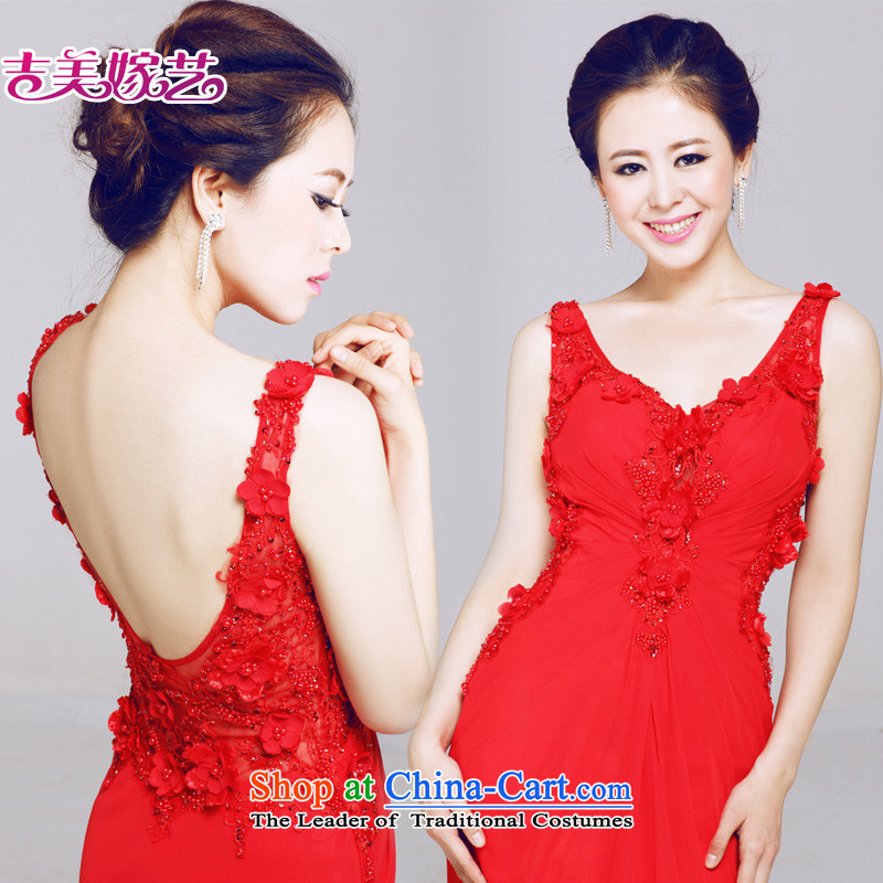 Beijing No. year wedding dresses Kyrgyz-american married arts new 2015 straps Korean dresses LT655 Sau San crowsfoot bride dress red�3-11A, ASIA
