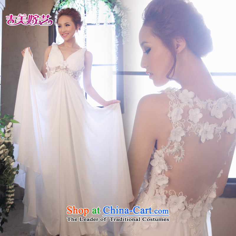 Beijing No. year wedding dresses Kyrgyz-american married arts new 2015 straps Korean dress tail LT1164 larger bride dress White?8#
