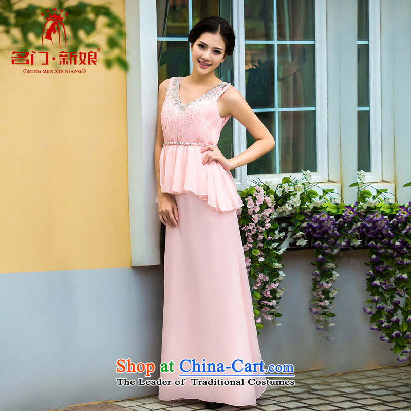 A Bride dress?new dresses marriage 2015 bows services bridesmaid long pink dress?337 M