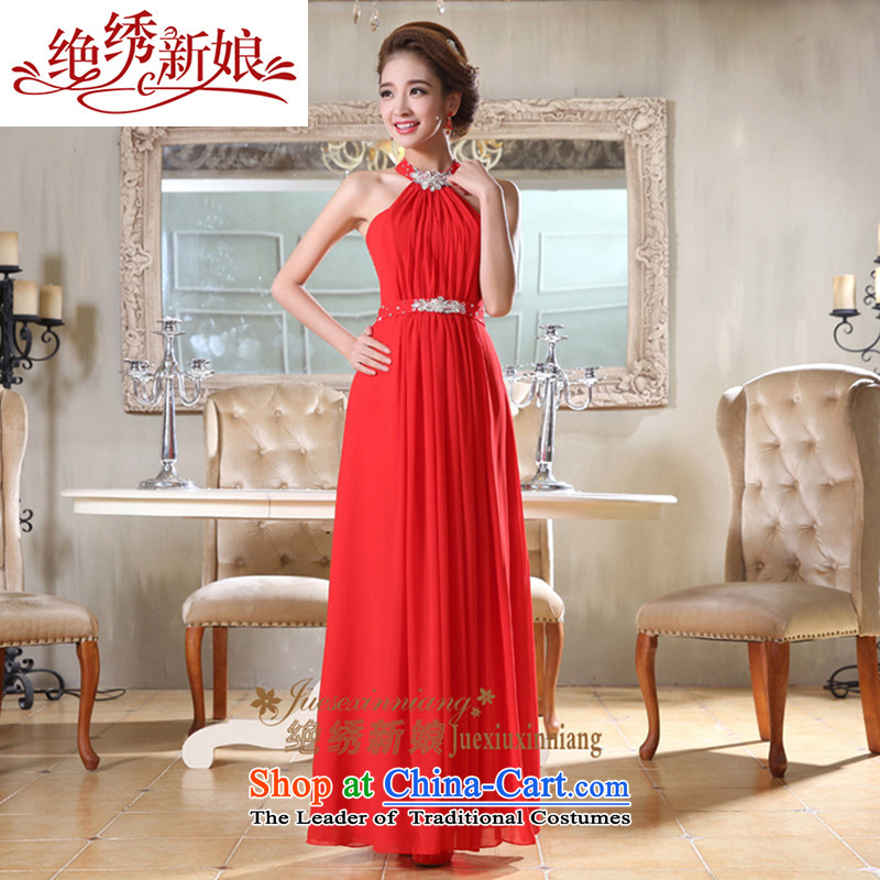 Embroidered Bride Korean-style is sexy diamond jewelry hang also long evening dresses bride bows services RED M Suzhou Shipment