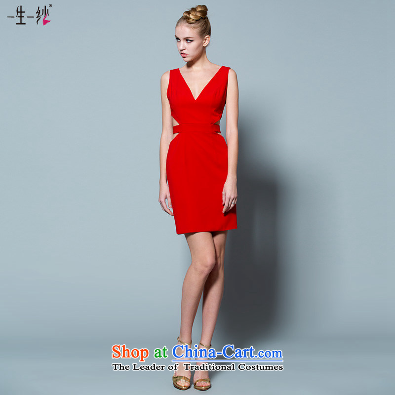 A lifetime of 2015 New dress skirt Sau San video thin aristocratic dinner hosted small short skirts autumn multi-colored?red?165/90A 30220856 Optional 30 days of pre-sale