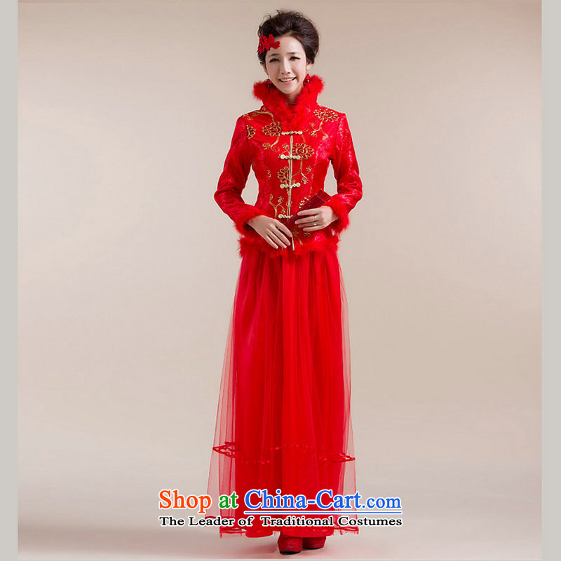 Optimize the new 2015 Hong-fleece high collar Chinese coin more thin layer of Tang Dynasty dress wedding dress XS7093 RED L