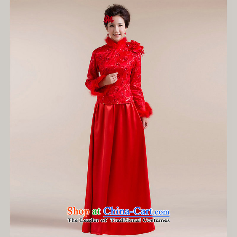 Optimize Hong-Tang Dynasty Chinese red winter_ winter cheongsam dress bride the lift mast mount bows service long?XS7094?RED?XXL
