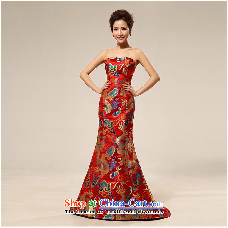 Optimize Hong-spring and summer 2014 new shoulder evening dresses long concert services marriages bows services wedding dresses XS7107 RED?XXL