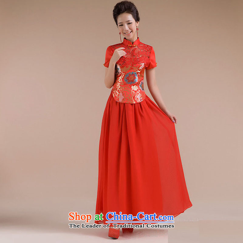 Optimize the use of the new Dr Philip WONG Sau San Fine Pattern Short tulle dress suit XS7109 RED?XL