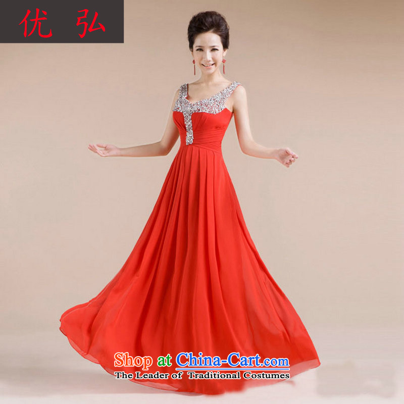 Optimize the new 2013 Hong-V-neck design manual diamond jewelry sexy beauty evening dresses XS7139 RED?XL