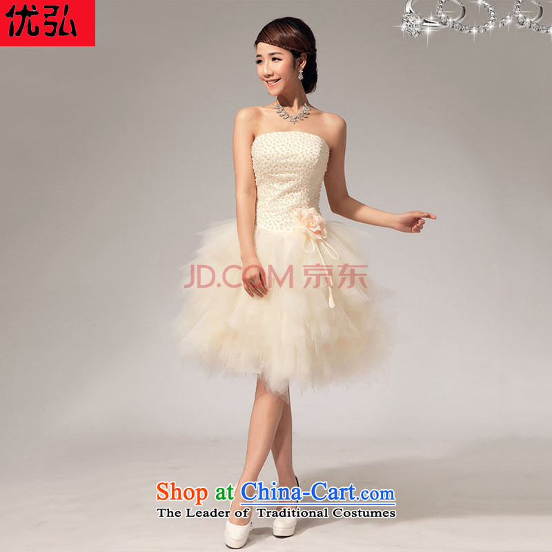 Optimize Hong-sister team bridesmaid services and stylish chest bon bon short of annual skirt bridesmaid dress skirt XS7145 champagne color?S