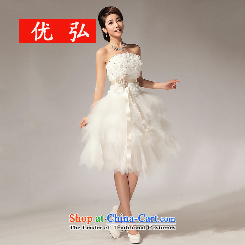 Optimize video new) 2014 bridesmaid dresses and Chest Flower short skirt XS7137 SISTER) m White�XL