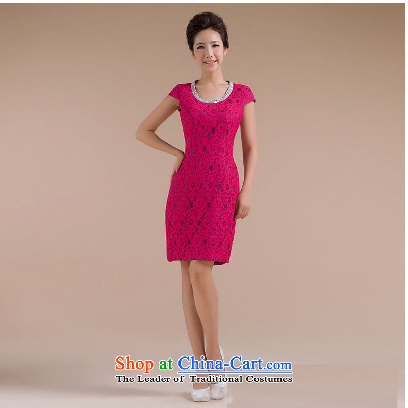 Optimize video new stylish round-neck collar body pattern is a minimalist XS7123 small dresses Sau San Red?XXL