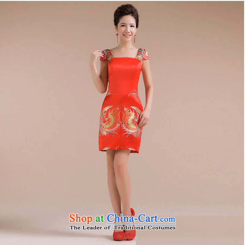 Optimize video new pattern strap repair waist Phoenix embroidery decorated and small dress XS7133 skirt RED?M