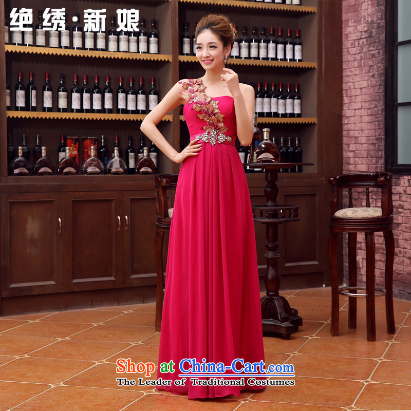 No?new 2015 bride embroidered evening dresses long marriage stylish wedding service bridal bridesmaid bows shoulder Beveled Shoulder better red?L service    ,?Suzhou Shipment
