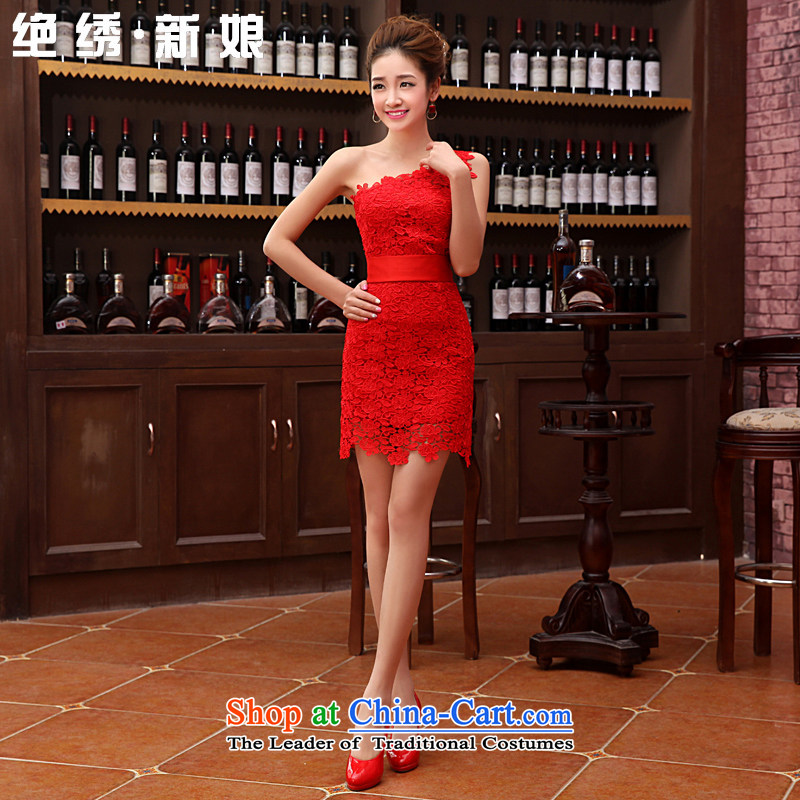Embroidered is?new spring 2015 bride bride bows to marry red short stylish qipao gown shoulder red?S?Suzhou Shipment