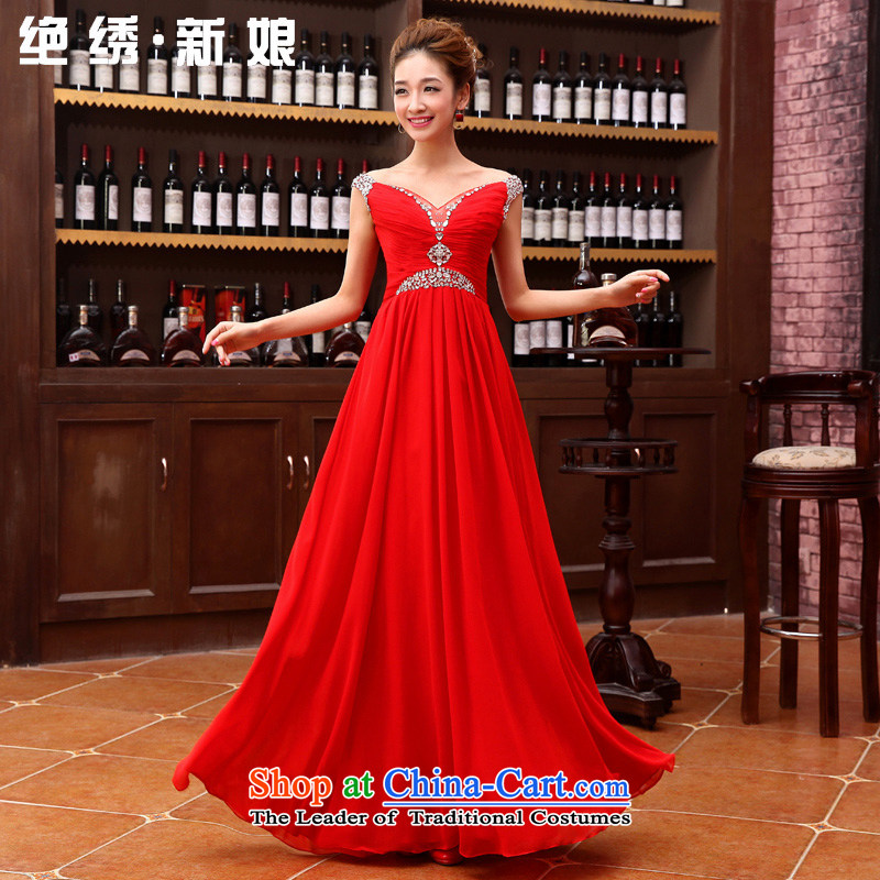 Embroidered brides is?2015 autumn and winter new bride bridesmaid marriage services evening dress small bows dress bridal dresses long red?L?Suzhou Shipment