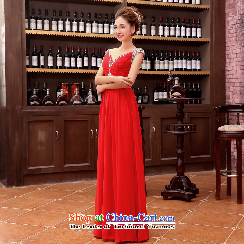 Embroidered brides is 2015 autumn and winter new bride bridesmaid marriage services evening dress small bows dress bridal dresses long red L , Suzhou embroidery brides shipment has been pressed shopping on the Internet