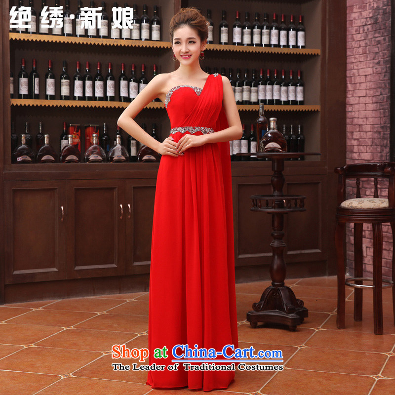 Embroidered is the�new Marriage bride 2015 wedding dresses long thin red brides graphics autumn and winter clothing shoulder video bows thin red dress�XXL�Suzhou Shipment