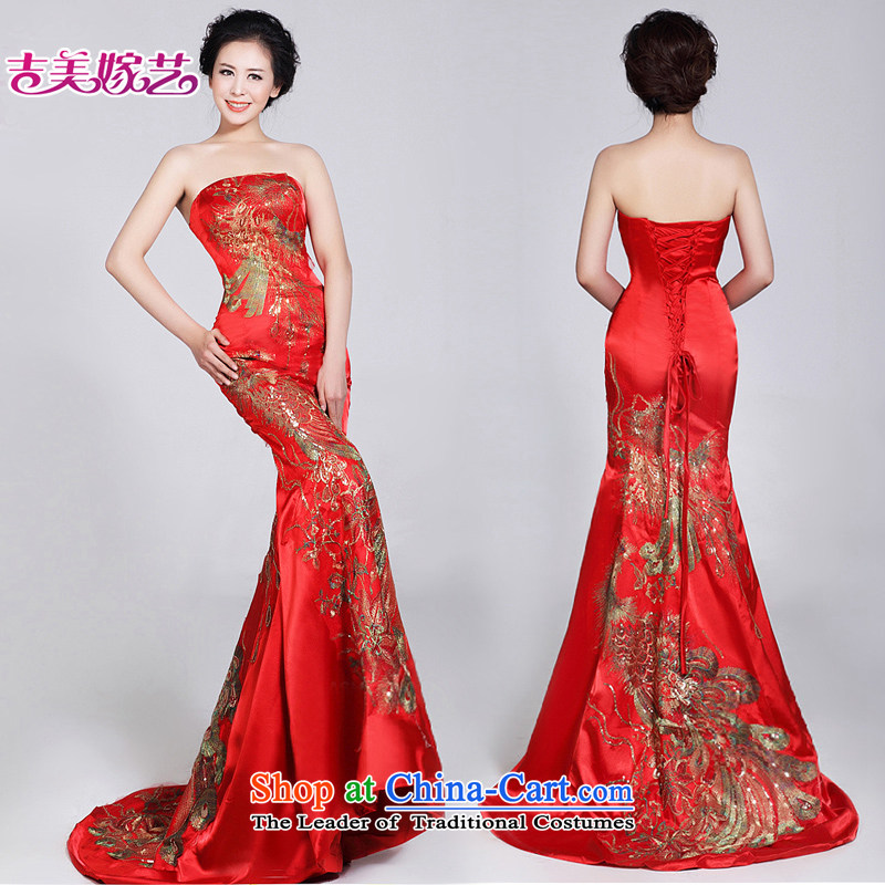 Beijing No. in dress Kyrgyz-american married arts 2015 new anointed chest Korean brides LT520 Red China wind Chinese wedding dresses red�XL