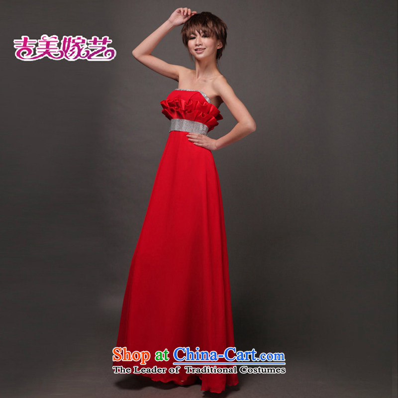 Beijing, in the new Korean dress red dress bows drop off services chest squeeze fold video thin LS321 bridal dresses red?XL