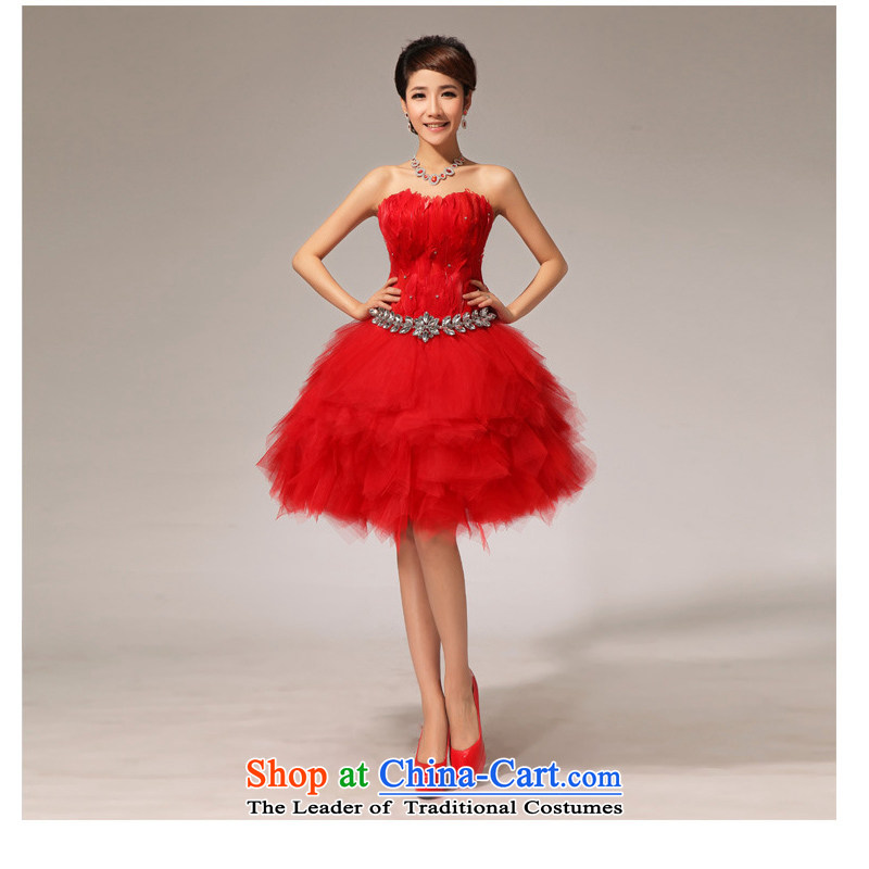 Optimize Hong-bride wedding dress bridesmaid services serving the red short of bows small dress XS7144 RED?S
