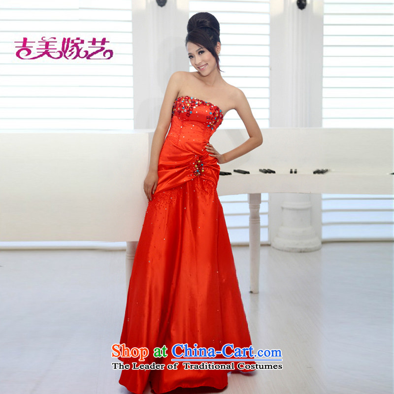 Beijing No. year wedding dresses Kyrgyz-american married new anointed arts 2015 Chest Korean bridal dresses crowsfoot dress LS057 RED�S