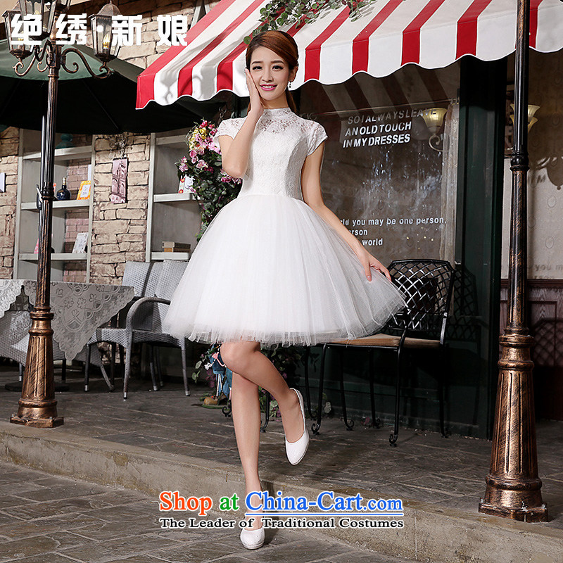Embroidered bride retro is short of lace bridal bridesmaid wedding dresses skirt Fashion small lace bows services bridesmaid services RADIANTCOLOR XXL Suzhou Shipment